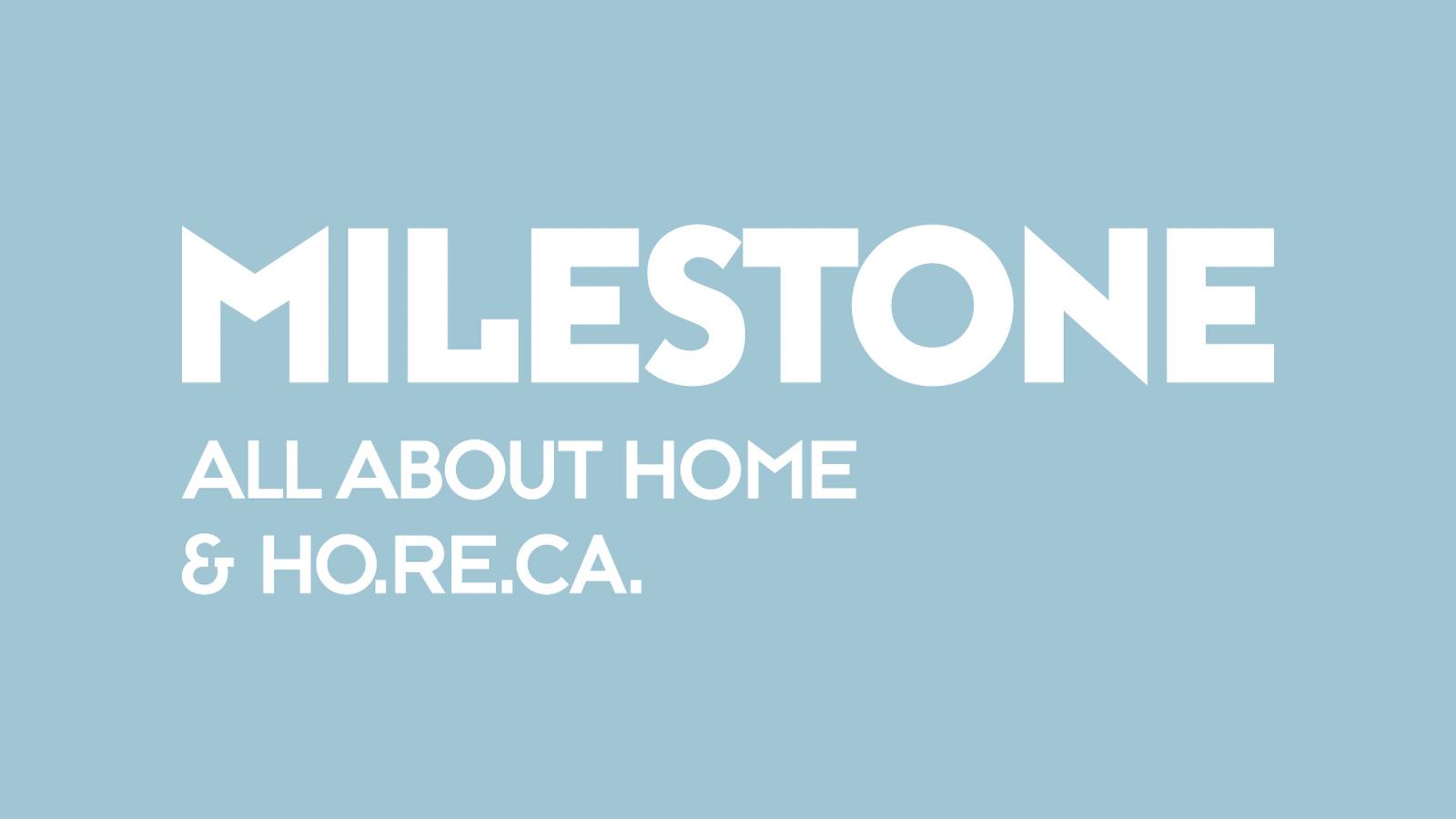 Milestone white logotype